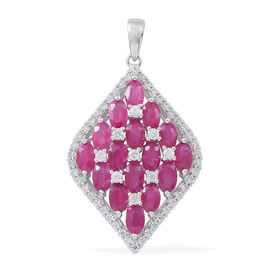 6.75 Carat Burmese Ruby and Natural White Cambodian Zircon Cluster Pendant in 9K White gold