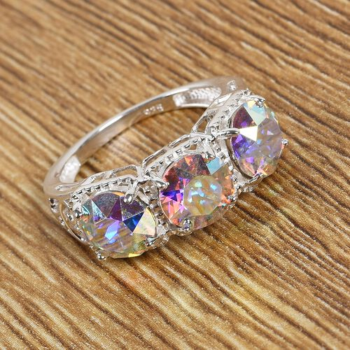 J Francis Crystal from Swarovski AB Crystal 3-Stone Ring in Sterling Silver