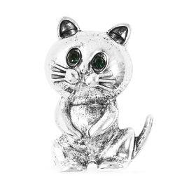 Green Austrian Crystal Cat Brooch in Silver Tone