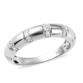 9K White Gold SGL Certified Diamond (I2-I3/G-H) Band Ring 0.25 Ct.