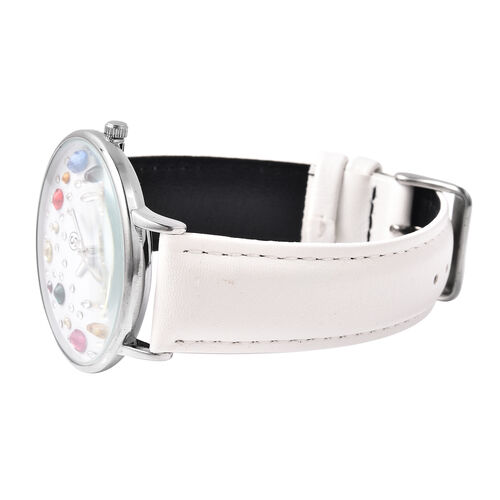 STRADA Japanese Movement Multi Colour Austrian Crystal Studded Water Resistant Watch with White Colour Strap