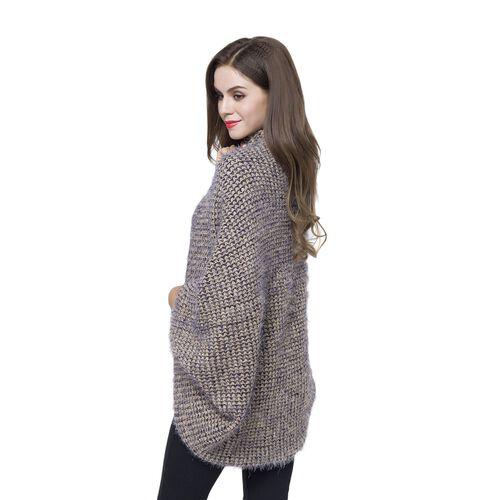 Designer Inspired Navy and Coffee Colour Winter Boho Chic Sleeve Kimono (Size 108x48 Cm)