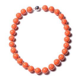 Living Coral Colour Shell Pearl Beaded Necklace with Magnetic Lock in Rhodium Plated Silver 20 Inch