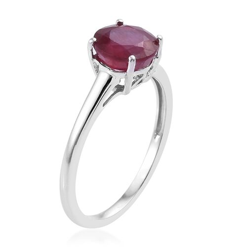 African Ruby (2.00 Ct) 9K W Gold Ring  2.000  Ct.