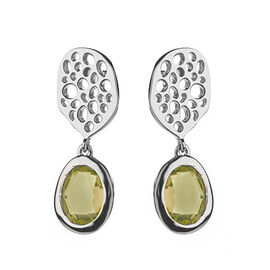RACHEL GALLEY Citrine (Ovl 8x6 mm) Lattice Earrings in Rhodium Overlay Sterling Silver 2.500 Ct.