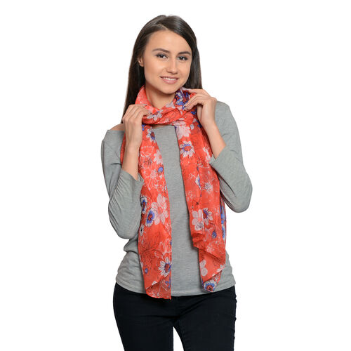 100% Mulberry Silk Red, Blue and White Colour Hand Screen Floral Printed Scarf (Size 180X50 Cm)