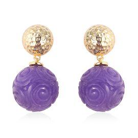 38.23 Ct Purple Jade Swirl Ball Drop Earrings in Gold Plated Silver