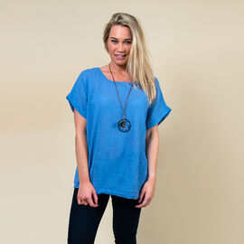 TAMSY High Low Scoop Neck Linen Top With 30 Inch Necklace (Size 8-16 ) - Denim Blue