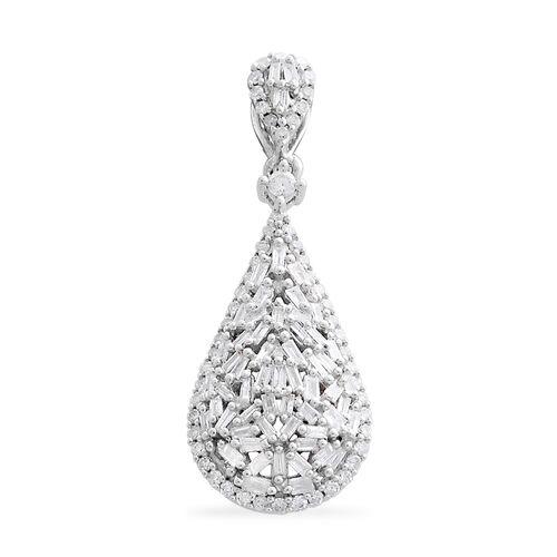 9K White Gold SGL Certified Diamond (Rnd and Bgt) (I3/G-H) Drop Pendant 0.500 Ct.
