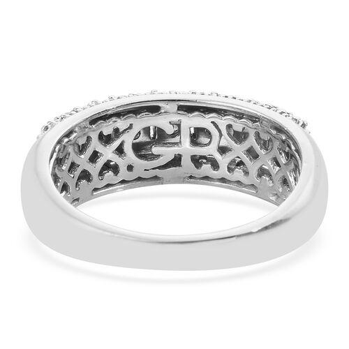 GP Diamond (Rnd and Bgt), Kanchanaburi Blue Sapphire Half Eternity Band Ring in Platinum Overlay Sterling Silver 0.350 Ct. Silver wt. 5.00 Gms.