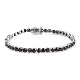 7.25 Ct Shungite Tennis Bracelet in Platinum Plated Sterling Silver 9.83 Grams 8 Inch