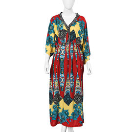 Flower Pattern Long Dress with Crystal Collar (One Size Fits All) - Red and Multi