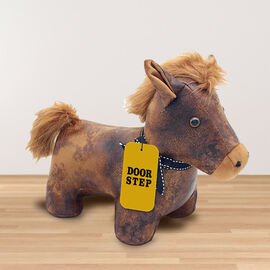 Lesser & Pavey - Faux Leather Pony Doorstop in White (Size 36x24x22 Cm)