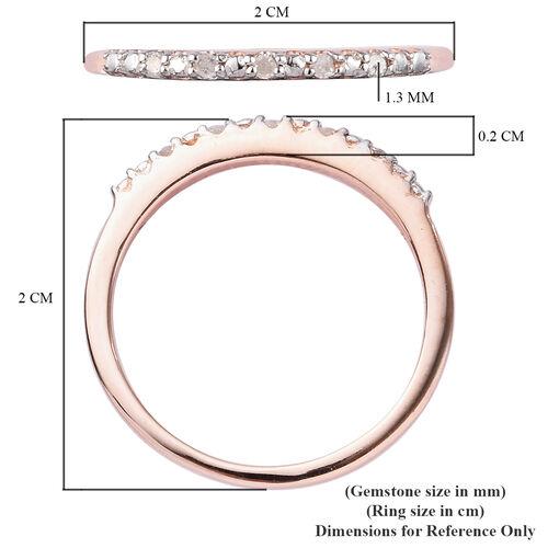 Diamond Half Eternity Ring in Rose Gold Sterling Silver Ring