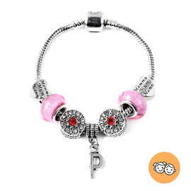 P Initial Charm Bracelet for Children in Simulated Pink Colour Bead, Red and White Austrian Crystal