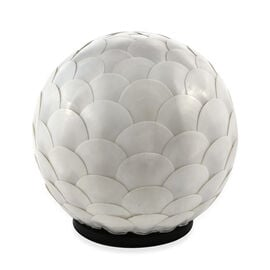 Bali Collection - Handcrafted Seashell ES Battery Table Lamp with Round Armadillo Motif (Size 20 Cm)