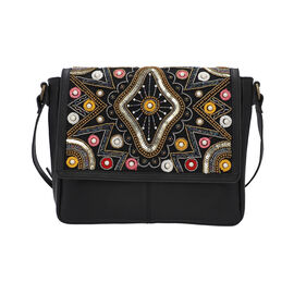 100% Genuine Leather Black Crossbody Bag with Multi Colour Embellishments (28x25x6cm)