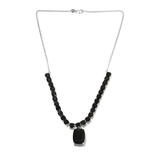 Natural Boi Ploi Black Spinel (Cush) Necklace with Chain (Size 18) in Platinum Overlay Sterling Silver 53.000 Ct., Silver Wt. 19.28 Gms