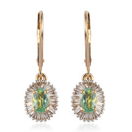 ILIANA 18K Yellow Gold AAA Mozambique Paraiba Tourmaline (Ovl), Diamond (SI/G-H) Lever Back Earrings