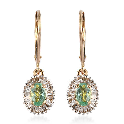 ILIANA 1.34 Ct AAA Mozambique Paraiba Tourmaline and Diamond Drop Halo Earrings in 18K Gold SI GH