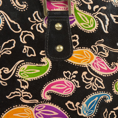 100% Genuine Leather Black and Multi Colour RFID Hand-Painted Hand Bag With External Zipper Pocket. (41cmX 26cmX 9cm)