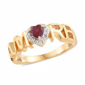 GP African Ruby (Rnd), Natural Cambodian Zircon and Kanchanaburi Blue Sapphire Amore Ring in 14K Gold Overlay Sterling Silver