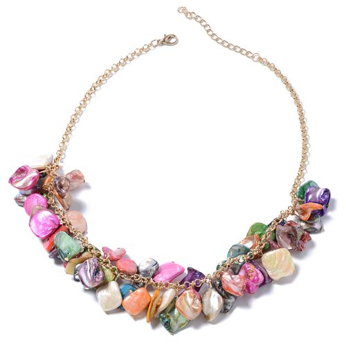 Designer Inspired-Multi Color Shell Necklace (Size 20) in Gold Plated.
