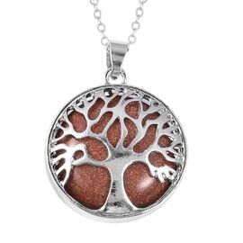Gold Sandstone (Rnd 25 mm) Tree of Life Pendant With Chain (Size 24) in Stainless Steel