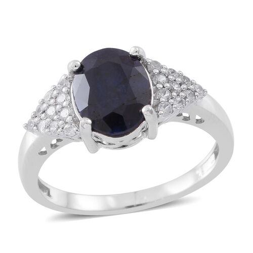 Kanchanaburi Blue Sapphire (Ovl 3.25 Ct), Natural White Cambodian Zircon Ring in Rhodium Plated Sterling Silver 3.750 Ct.