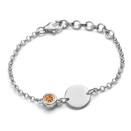 Citrine Bracelet (Size 5 with 1 inch Extender) in Platinum Overlay Sterling Silver