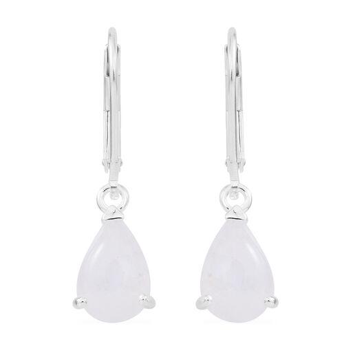 Sri Lankan Silver Moonstone (Pear) Lever Back Earrings in Sterling Silver 4.000 Ct.