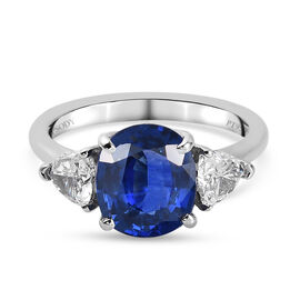RHAPSODY 950 Platinum IGI Certified AAAA Blue Ceylon Sapphire and Diamond (VS/E-F) Ring 3.70 Ct.