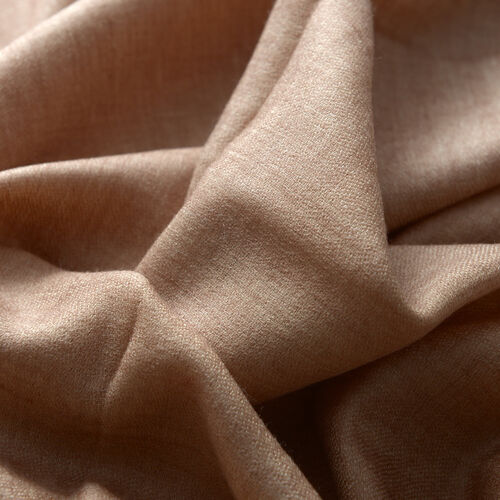 88% Merino Wool and 12% Silk Light Brown Colour Reversible Scarf (Size 200x70 Cm)