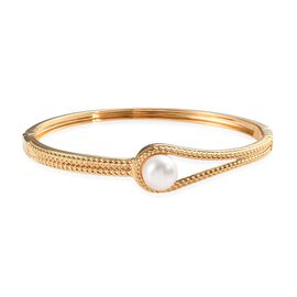 Freshwater Pearl Woven Bangle in Gold Plated 7.5 Inch