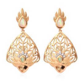 Ethiopian Welo Opal and Natural Cambodian Zircon Earrings (with Push Back) in 14K Gold and Rhodium O