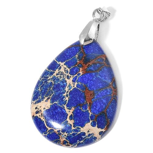 Blue Jasper Tear Drop Pendant in Rhodium Plated Sterling Silver 50.000 Ct.