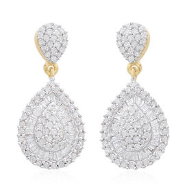 9K Yellow Gold SGL Certified (I3/G-H) Diamond (Bgt and Rnd) Earrings (with Push Back) 1.000 Ct, Numb