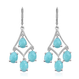 9 Carat Peruvian Amazonite Dangle Earrings in Platinum Plated Sterling Silver 5.99 Grams With Lever