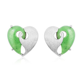 Green Jade Yin-Yang Heart-Shaped Stud Earrings in Sterling Silver 3.25 Ct.