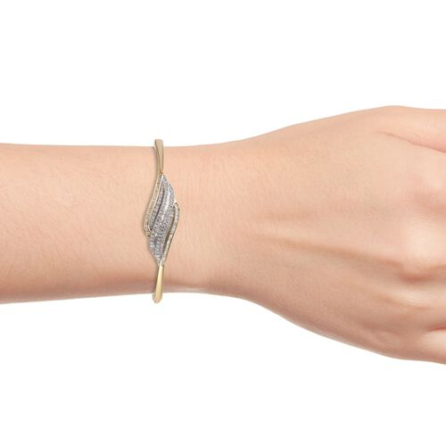 Diamond (Rnd) Bangle (Size 7.5) in 14K Gold Overlay Sterling Silver 1.00 Ct, Silver wt 18.00 Gms