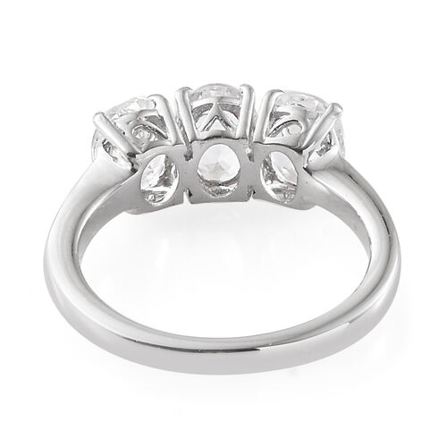 Petalite (Ovl) Trilogy Ring in Platinum Overlay Sterling Silver 1.750  Ct.
