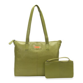 2 Piece Set - SUPER SOFT 100% Genuine Leather Sausage Dog Logo Green Large Tote bag with Matching RFID Purse (33x27x11cm)