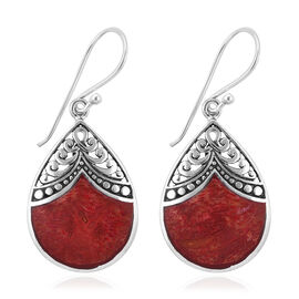 Royal Bali Collection  Coral Hook Earrings in Sterling Silver, Silver wt 3.40 Gms.
