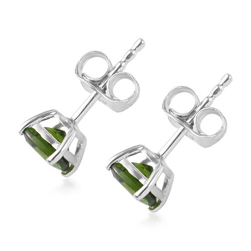 Natural Russian Diopside Stud Earrings (with Push Back) in Platinum Overlay Sterling Silver 1.00 ct.