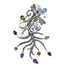 Bali Legacy Collection - Amethyst, Hebei Peridot and Multi Gemstone Dragonfly Pendant in Sterling Si