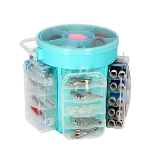 Deluxe Sewing Kit (Includes 5 Removable Storage Bins, 34 Assorted Threads, 45 Assorted Buttons, 5 Snapping Buttons, 26 Sewing Needles, 48 Safety Pins)