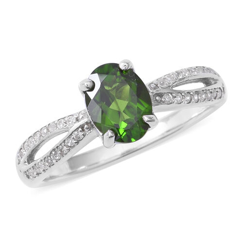 Russian Diopside (Ovl 1.20 Ct), Natural White Cambodian Zircon Ring in Rhodium Overlay Sterling Silv