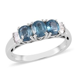 1.30 Ct Indigo Kyanite and Diamond Trilogy Ring in Platinum Plated Silver