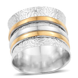 Designer Inspired- Sterling Silver 14K Gold and Platinum Overlay Spinner Ring, Silver 5.64 Gms