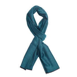 100% Cashmere Wool Dark Turquoise Colour Scarf (Size 200x70 Cm)